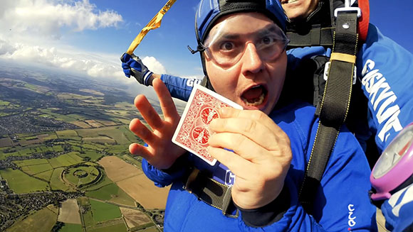 Most magic tricks performed on a single skydive thumbnail