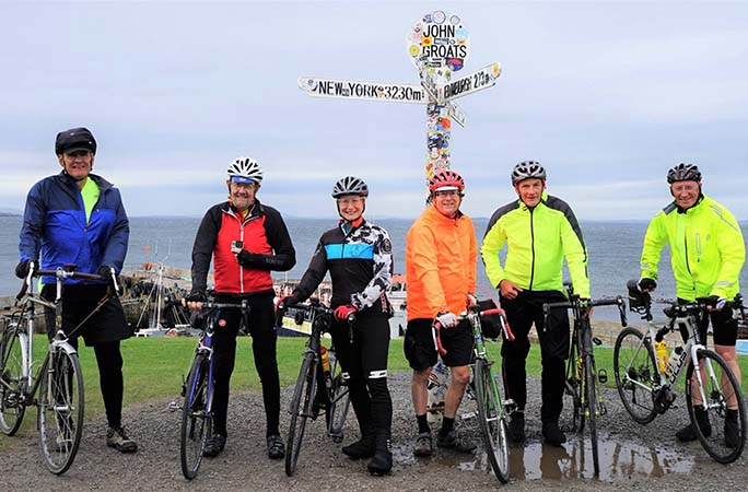 The cycling group at John o' Groats